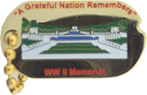 View WW II MEMORIAL DOG TAG WITH CHAIN A GRATEFUL NATION REMEMBERS PIN