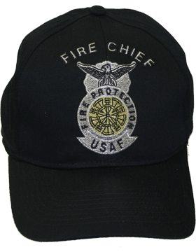 View Ball Cap USAF Air Force Fire Chief 5 Bugles Crossed Metallic