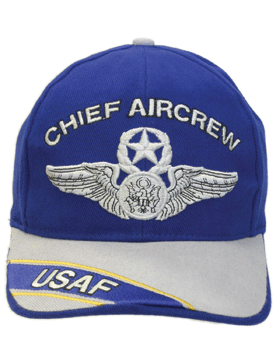 View USAF Ball Cap Air Force Royal Blue and Gray with Chief Aircrew