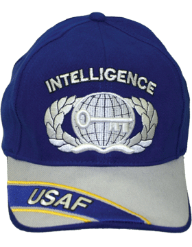 View USAF Ball Cap Air Force Royal Blue and Gray with Intelligence