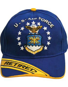 View USAF Ball Cap Air Force Royal Blue and Gold with Shield Retired