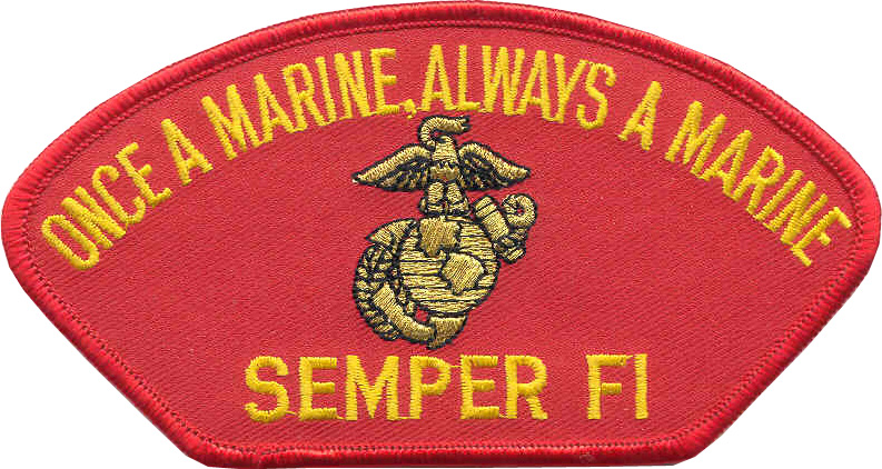 View ONCE A MARINE SEMPER FI RED MARINE CORPS PATCH