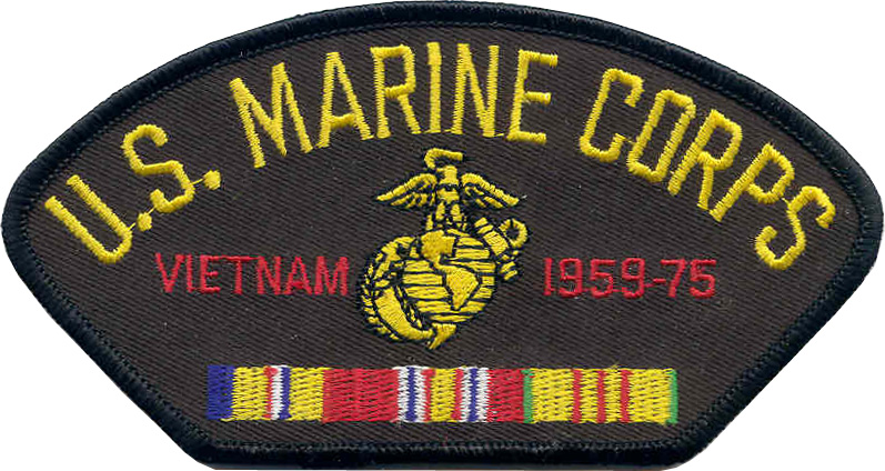View USMC US MARINE CORPS VIETNAM VETERAN PATCH 1959-1975 WITH SERVICE RIBBON