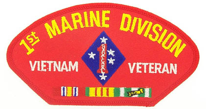 View 1ST MARINE DIVISION VIETNAM VETERAN RED PATCH WITH SERVICE RIBBON