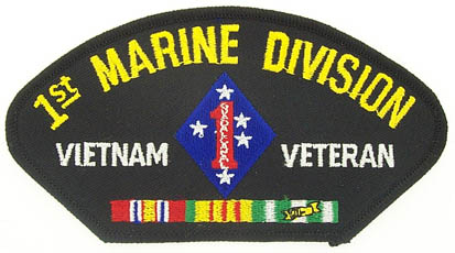 View 1ST MARINE DIVISION MARINE CORPS VIETNAM VETERAN PATCH WITH SERVICE RIBBON