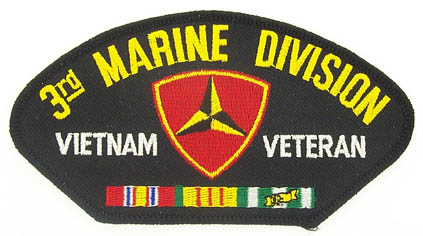 View 3RD MARINE DIVISION MARINE CORPS VIETNAM VETERAN PATCH WITH SERVICE RIBBON