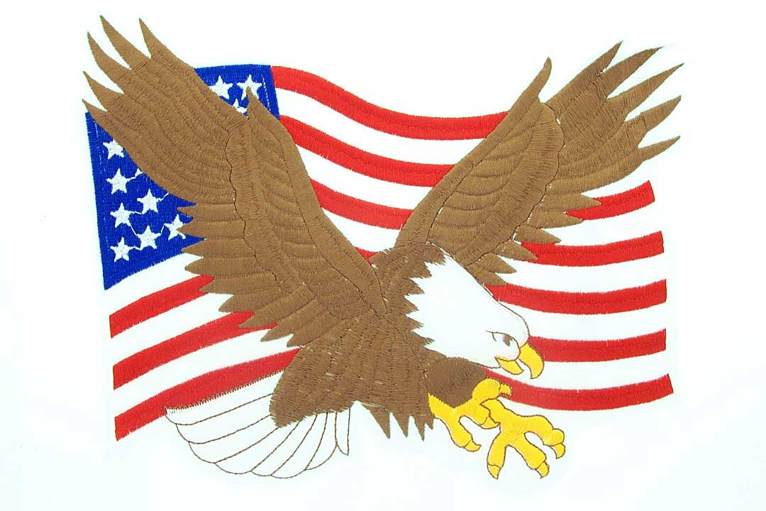 View US FLAG & EAGLE  BACK PATCH  6.5