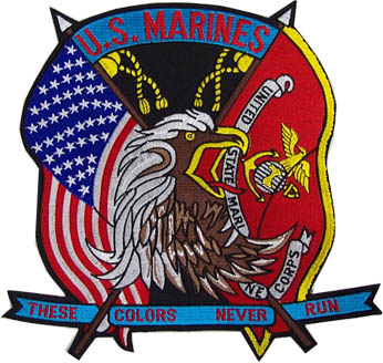 View USMC US MARINE CORPS THESE COLORS NEVER RUN FLAG  BACK PATCH  10