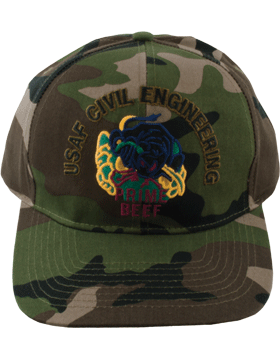 View Ball Cap USAF Air Force Camo with Prime Beef Subdued Civil Engineering