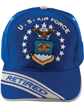 View Ball Cap USAF Air Force Royal and Gray with Shield (Retired)