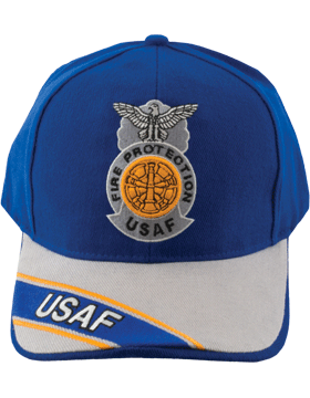 View Ball Cap USAF Air Force Fire Protection Badge with Five Bugles Badge