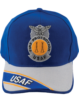 View Ball Cap USAF Air Force Royal and Gray with Two Bugles Badge Parallel
