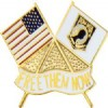 View AMERICAN FLAG AND POW FLAG PIN