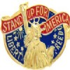 View STAND UP FOR AMERICA LIBERTY FREEDOM STATUE OF LIBERTY PIN