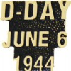 View D-DAY JUNE 6 1944 GOLD SCRIPT PIN