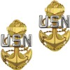 View USN NAVY COLLAR DEVICE E7 CHIEF PETTY OFFICER  1-PAIR