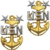 View USN NAVY COLLAR DEVICE E9 MASTER CHIEF PETTY OFFICER 1-PAIR PIN BACK